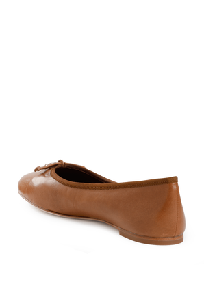 Charm Ballet Flat in Brown TORY BURCH