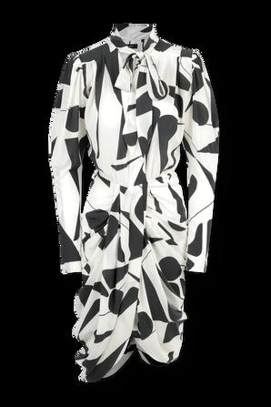 Atoae Silk Dress in Black and Ecru ISABEL MARANT
