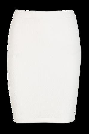 Strech Rib Bodycon Mini Skirt in White CALVIN KLEIN