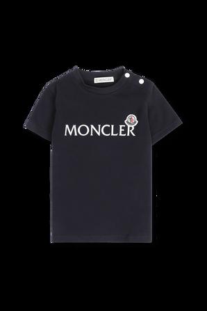 גילאי 2-24 חולצת טי שחורה עם סגירת כפתורים בכתפיים MONCLER KIDS