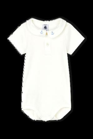 גילאי 3-12 חודשים בגד גוף קצר עם רקמת עוגן PETIT BATEAU