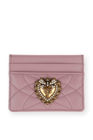 Pastel Pink Leather Devotion Card Holder DOLCE & GABBANA