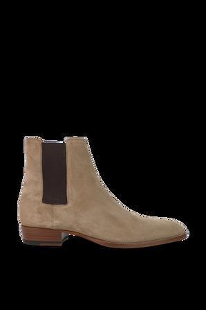 Mid Heel Leather Boots In Brown SAINT LAURENT