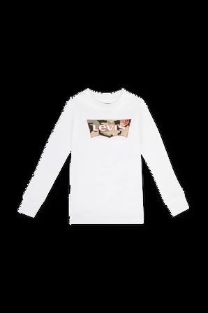 גילאי 4-7 חולצה ארוכה עם לוגו צבאי בגוון לבן LEVI`S KIDS