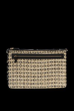 Woven Raffia Shoulder Bag in Beige and Black FENDI