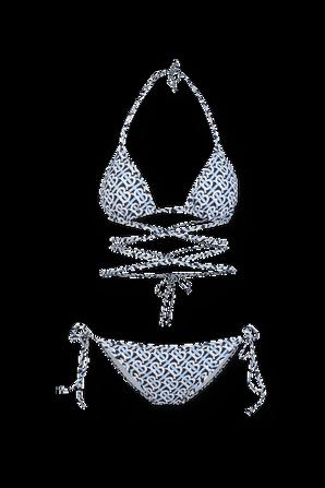 Monogram Print Triangle Bikini in Blue BURBERRY