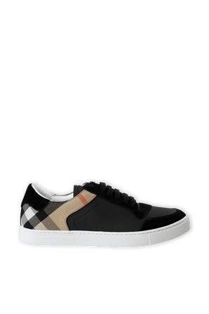 Leather Check Sneakers in Black BURBERRY