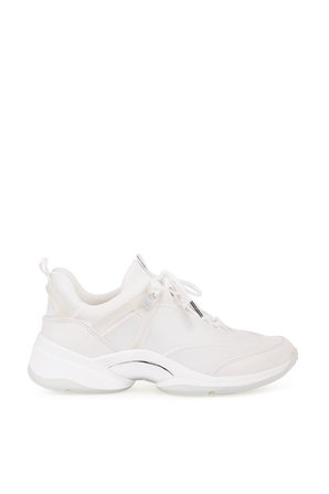 Sparks Mixed Media Trainers in White MICHAEL KORS