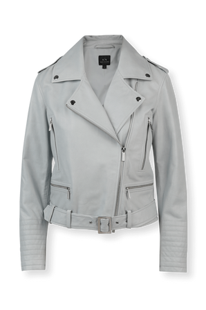 Leather Biker Jacket in Grey ARMANI EXCHANGE