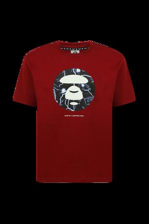 חולצה קצרה עם הדפס ממותג פלאנט בגוון בורדו AAPE