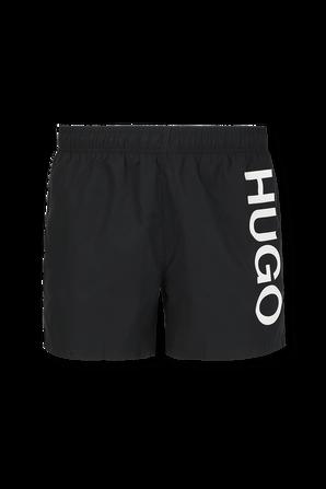 Logo Swim Shorts in Black HUGO