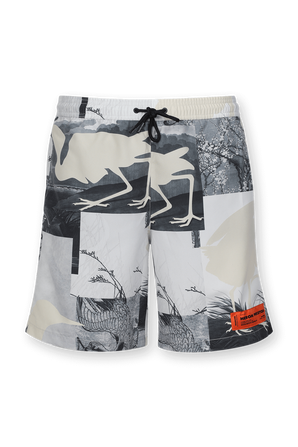 Print Swim Shorts in Grey HERON PRESTON