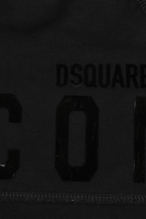 גילאי 4-16 חצאית מיני שחורה עם כיתוב מבריק על החזית DSQUARED2 KIDS