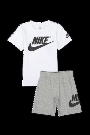 גילאי 2-4 סט חולצה ומכנסיים בלבן ואפור NIKE