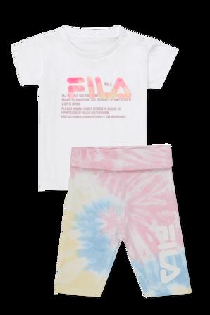 גילאי 6-24 חודשים סט חולצה וטייץ קצרים במראה טאי-דאי FILA