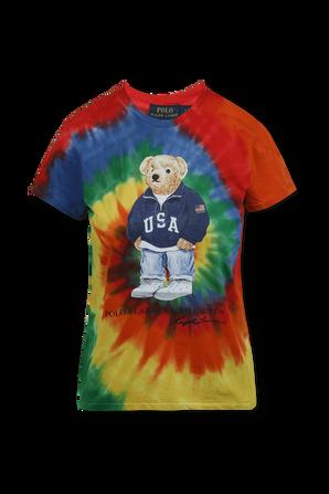 Polo Bear Motif Tie-Dye Cotton T-Shirt In Multicolor POLO RALPH LAUREN