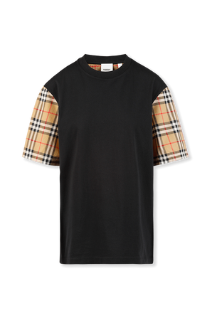 Vintage Check Sleeve Cotton T-shirt in Black BURBERRY