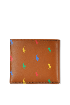 Colorful Logo Wallet in Brown Leather POLO RALPH LAUREN