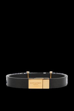 צמיד מונוגרמי מעור בצבע שחור SAINT LAURENT