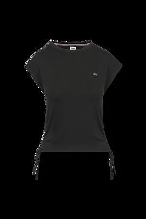 Side Bow Detail T-Shirt In Black TOMMY HILFIGER
