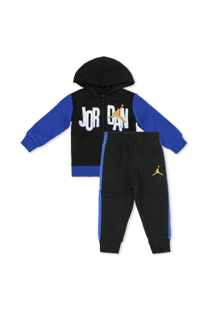גילאי 2-4 סט מכנסיים וחולצה ממותגים בגווני כחול ושחור JORDAN