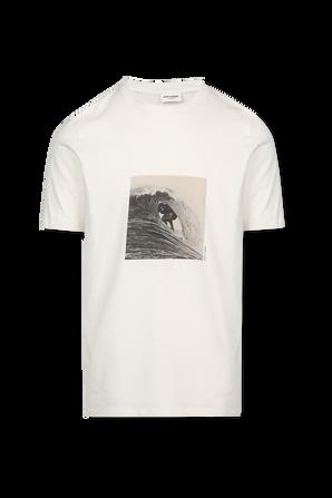 Surfer Print T-Shirt In White SAINT LAURENT