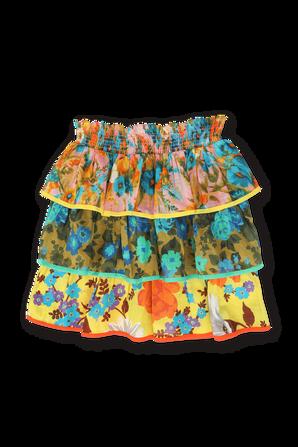גילאי 1-10 חצאית שכבות בהדפס פרחוני צבעוני ZIMMERMANN KIDS