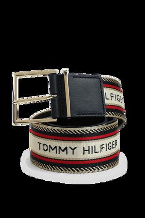Gold Square Buckle Logo Embroidered Belt TOMMY HILFIGER