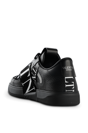 VLTN Sneakers with Bands in Black Leather VALENTINO