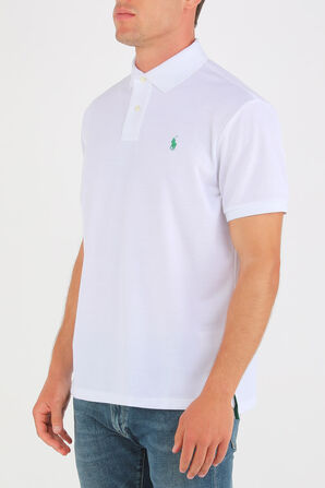 Knit Sleeve Cotton Polo Shirt in White POLO RALPH LAUREN
