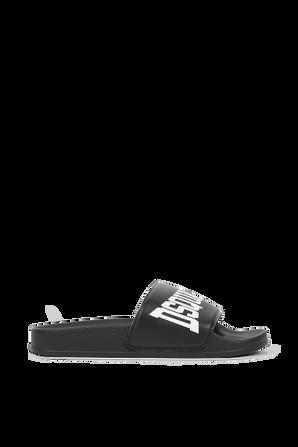 מידות 30-39 כפכפי סליידס לוגו בשחור DSQUARED2 KIDS