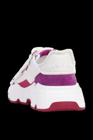 נעלי סניקרס עם מונוגרמת המותג בגווני לבן וסגול DOLCE & GABBANA