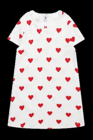 גילאי 6-12 שמלת פיג'מה בהדפס לבבות PETIT BATEAU