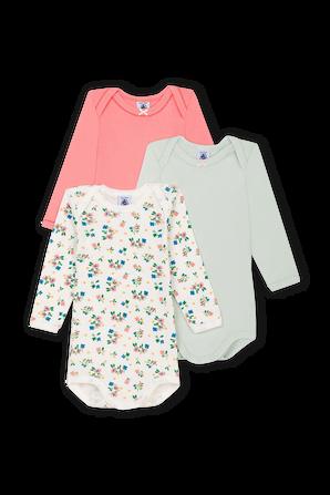 גילאי 0-36 חודשים שלישיית בגדי גוף ארוכים PETIT BATEAU
