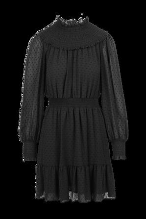 Swiss Dot Smocked Dress in Black MICHAEL KORS