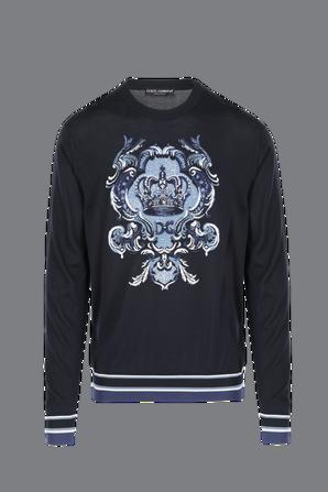 Round-Neck silk Sweater With Intarsia And Logo DOLCE & GABBANA