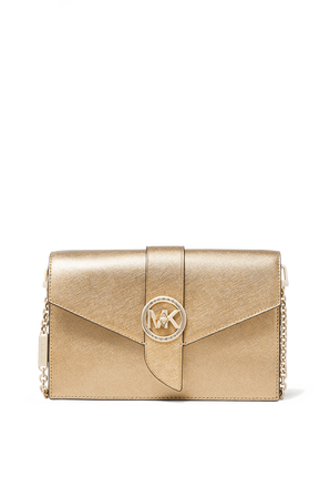 Metallic Leather MD Convertible Crossbody Bag in Pale Gold MICHAEL KORS