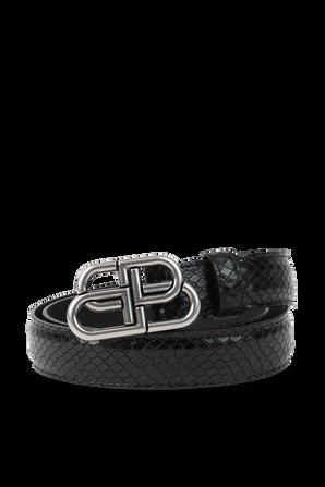 BB Monogram Leather Belt in Black BALENCIAGA