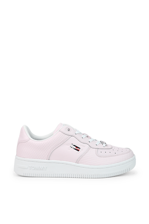 Textured Leather Basket Cupsole Light Pink Sneakers TOMMY HILFIGER