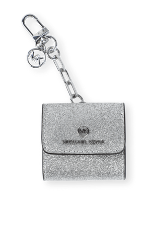 Logo AirPod Clip Case in Silver Leather MICHAEL KORS