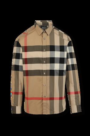 Check Stretch Cotton Poplin Shirt in Beige BURBERRY
