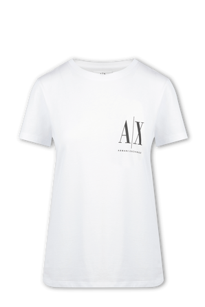 Icon Period Logo Boyfriend Fit T-Shirt in White ARMANI EXCHANGE
