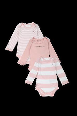 גילאי NB-16 חודשים שלישיית בגדי גוף ארוכים בגווני ורוד ולבן TOMMY HILFIGER KIDS