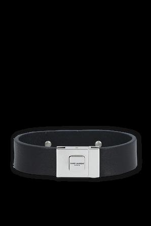 ID Bracelet in Black Leather SAINT LAURENT