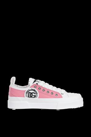 נעלי סניקרס מוגבהות עם לוגו בגווני ורוד ולבן DOLCE & GABBANA