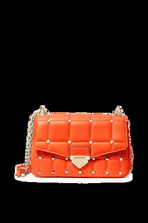 Soho LG Studded Quilted Leather Shoulder Bag in Orange MICHAEL KORS