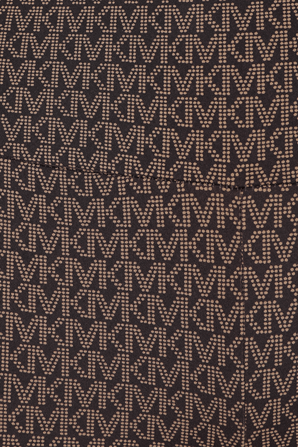 MK Logo Print Biker Shorts in Brown MICHAEL KORS