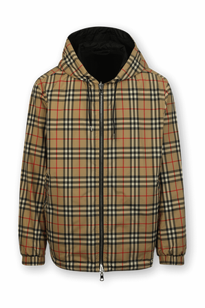 Double Sided Plaid Coat in Brown BURBERRY