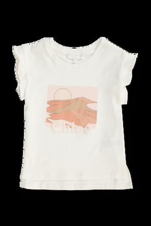 גילאי 6-12 חולצת טי לוגו עם וולנים בשרוולים CHLOE KIDS
