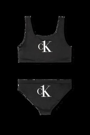 מידות 10-16 בגד ים ביקיני שחור עם דפוס לוגו CALVIN KLEIN